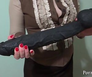 huge black dildo in a..