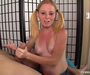 Teen redhead handjob..