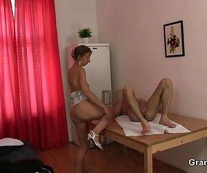 Granny masseuse jumps..