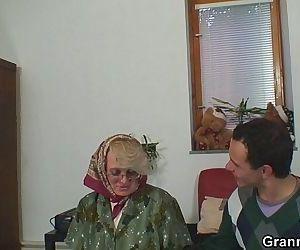 Old women gets her bald..