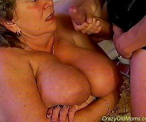 Crazy old mom fucked..