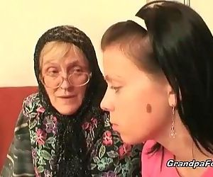 Hot babe helps granny..