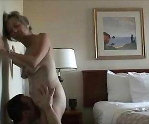 Licking a horny mature..