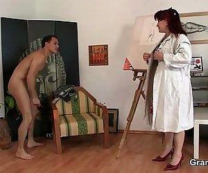 Hot mature lady jumps..
