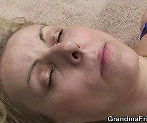 Blonde granma swallows..