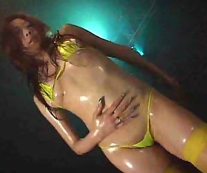Oiled up asian stripper..