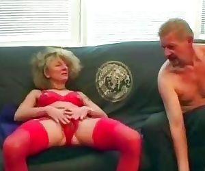 Horny granny fucks her..