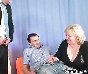Blonde grandma gets..