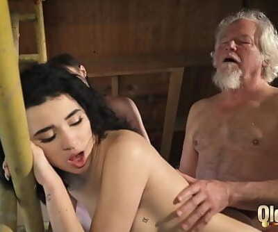 Old man puts his cock..
