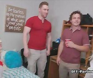 Foursome dorm blowjob..