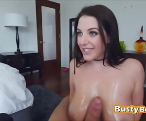 Busty chick playing..