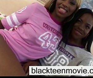 Ebony teen threesome..