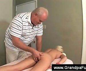 Senior masseur fingers..