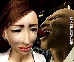 3D hentai MILF gets big..