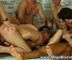 Bi group sluts suck and..
