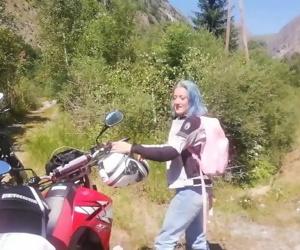 Blue hair biker girl..