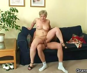 Lonely old granny gives..