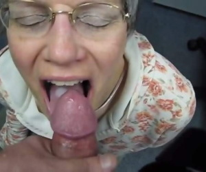 granny swallows cum..
