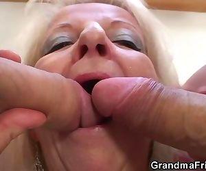Blonde grandma takes..