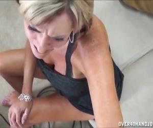 Busty mature lady jerking