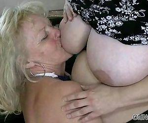 Blonde granny loves..