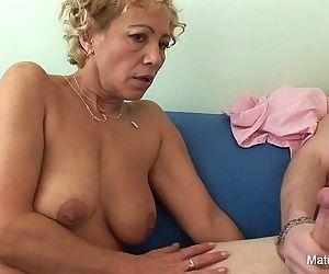 Blonde granny gets cum..