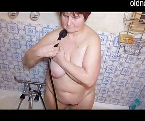 Granny using water to..