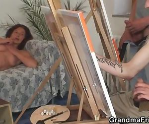 Old granny pleases two..