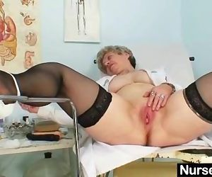 Busty granny in uniform..