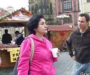 Granny tourist jumps on..