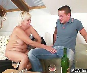 Horny granny seduces..