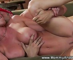 Busty milf rides lucky..